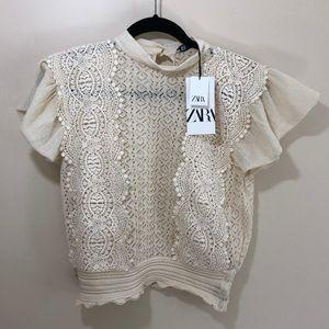 BNWT ZARA lace top ivory size medium